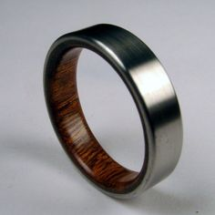 Rosewood and Titanium Band Wood Ring