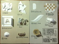 11 Common Techniques used with paper sculpture/ papercraft. @Li Cheng