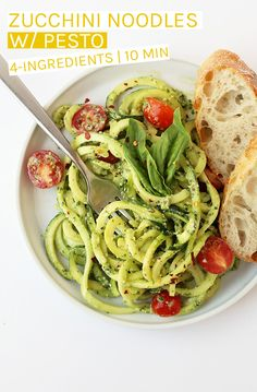Lighten up with this zucchini noodles with pesto and cherry tomatoes salad. A quick 10 minute meal that is gluten-free and vegan for the perfect summertime dinner. Vegan Zucchini Recipes, Vegan Dinner Recipes, Vegan Dinners, Vegan Recipes Easy, Vegetarian Recipes, Vegan Food, Vegan Vegetarian, Vegan Pesto, Raw Vegan