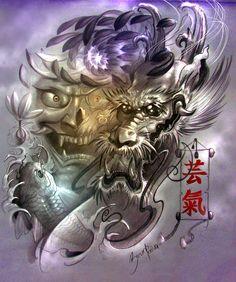 dragon skull carp tattoo