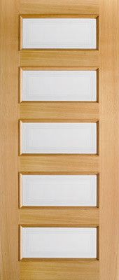 Clear Glass Interior Door, Oak 5 Pane Moulded contemporary interior doors