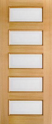Clear Glass Interior Door, Oak 5 Pane Moulded contemporary interior doors