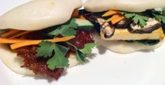 Spicy Pork  Seared Tofu Buns - Chef Gina Wang Tofu Sandwich, Food Pictures, Buns, Spicy, Sandwiches, Pork, Eat, Cooking, Ethnic Recipes