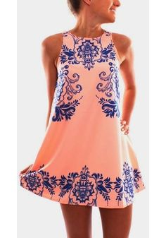 Pink Flowers Print Round Neck Sleeveless Chiffon Dress - Mini Dresses - Dresses
