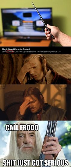 One does not simply confuse Harry Potter and Lord of the Rings without getting hurt.  TRUTH