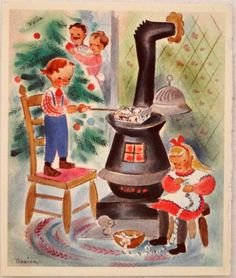 #1780 40s Popping Popcorn on the Stove- Vintage Christmas Card-Greeting