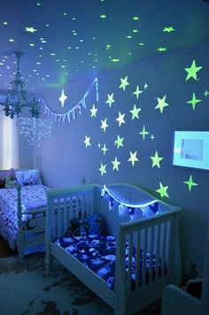 Glow in the dark paint that truly works! Available at Walmart. Safe for ceilings, walls, paint freestyle or use stencils for a professional look! :)