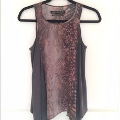 All Saints Silk Python Asymmetrical Vest Top 🌸 Beautiful grey top with snake print in front and back. Beautiful draping in silk. Great condition, worn once. All Saints Tops