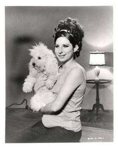 Barbra Streisand with Poodle, Sadie.