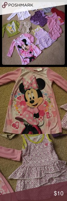 10 Piece Lot of Toddler Girl clothes 12 months The Minnie mouse sleep dress is 18 months but I always but them 1 size up so that they have room to grow into them (always wear tight fitting pajamas when under a year)  the khaki shorts have never been worn. My daughter wore waist size half her age in shorts and skirts since day 1. Tinkerbell shirt is super soft and cute! Pet free smoke free Shirts & Tops
