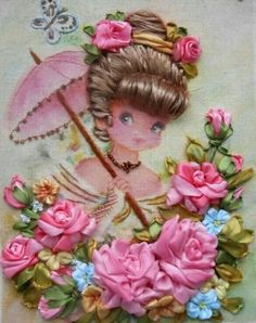 Wonderful Ribbon Embroidery Flowers by Hand Ideas. Enchanting Ribbon Embroidery Flowers by Hand Ideas. Silk Ribbon Embroidery, Embroidery Thread, Embroidery Patterns, Ribbon Art, Ribbon Crafts, Band Kunst, Brazilian Embroidery, Needlework, Creations