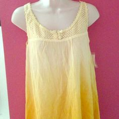 Ombré Linen Crochet Top Gorgeous flowy ombré linen crochet top. Goes from light faded yellow to a brighter dandelion yellow. Rippled effect fabric. 2 buttons in front. Scoop neck. Brand new with tags. Size XS (will fit Small) Tops