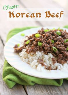 "Cheater Korean Beef - This is FANTASTIC!!! Not only is it super delicious, it's also quick and easy. I used ground venison and very little pepper so the kids could eat it. Don't skip the sesame oil! Went straight into my ""Keeper"" file."