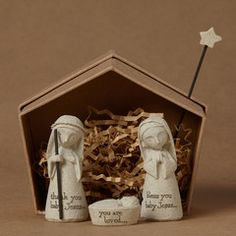 This beautiful Bless You Nativity set includes 3 figurines and the box is designed to be used as the creche. Add the star for a cute Nativity setting. This is a great gift for the Holidays.Made out of in H x 1 in W x in L. Christmas Nativity Set, Christmas Makes, Christmas Fun, Nativity Sets, Christmas Ornaments, The Birth Of Christ, O Holy Night, Christian Christmas, Holy Family