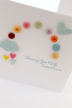 handmade baby shower card - rainbow