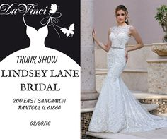 Calling all future brides in the Rantoul IL area!  Join us on Saturday 02/20/16 at our trunk show held at Lindsay Lane Bridal; featuring our latest bridal fashions.  We hope to see you there!