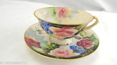 VINTAGE-OLD-CHUBU-CHINA-HAND-PAINTED-FLOWERS-TEA-CUP-AND-SAUCER-OCCUPIED-JAPAN
