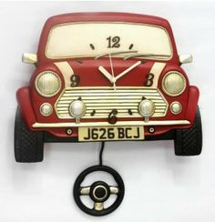Allen Designs Inspired Hand Painted Red Mini Cooper Wall Clock