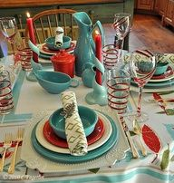 scarlet and turquoise fiestaware - LOVE this table setting!