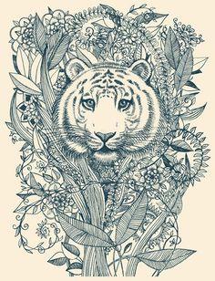 Tiger Tangle Art Print: