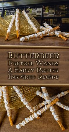 Butterbeer Pretzel Wands: A Harry Potter Inspired Recipe - Geeks Who Eat potter party food menu recipe Butterbeer Pretzel Wands: A Harry Potter Inspired Recipe - Geeks Who Eat Harry Potter Desserts, Theme Harry Potter, Harry Potter Baby Shower, Harry Potter Food, Harry Potter Halloween, Harry Potter Christmas, Harry Potter Birthday, Harry Potter Baking Recipes, Jarry Potter