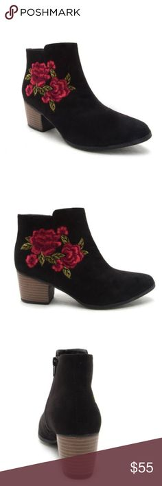 "🌹Coming Soon🌹 Rose Embroidered Booties HEY BABE! NICE STEMS. THESE MUST-HAVE BOOTIES FEATURE A FLORAL EMBROIDERY, A STACKED HEEL, AND AN ALMOND TOE. PAIR THESE WITH A LITTLE FITTED DRESS THAT CAN'T BE IGNORED.  MATERIAL: MAN-MADE, SUEDE LEATHERETTE   SOLE: SYNTHETIC  MEASUREMENT: HEEL HEIGHT: 2.5""  FITTING: TRUE TO SIZE Gypsy Los Angeles Shoes Ankle Boots & Booties"