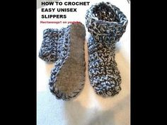CROCHET: EASY Unisex CROCHET SLIPPERS, Christmas Gift Idea, felt soles, non slip soles VIDEO # 1095 - YouTube
