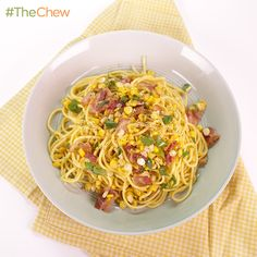 Spaghetti with Corn, Bacon and Jalapeno by Michael Symon! #TheChew
