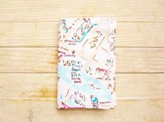 """Passport cover holder sleeve travel wallet case Paris Notre Dame Louvre map soft colored cotton pocket 3,5"""" x 5"""" light blue pink white cream by…"""