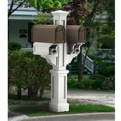 Mailbox post idea, except in cedar and stain it...maybe a solar cap on top