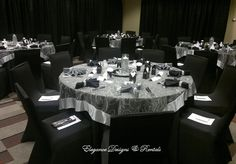 Silver And Black Wedding Reception At Sheraton Huntsville Airport Al Tablecloths