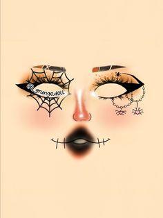 Dope Makeup, Edgy Makeup, Grunge Makeup, Eye Makeup Art, No Eyeliner Makeup, Graphic Makeup, Cute Halloween Makeup, Makeup Face Charts, Looks Dark
