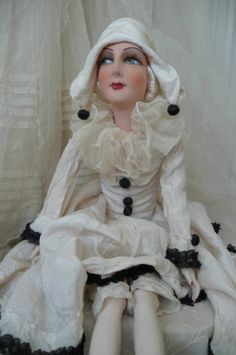 Antique French Boudoir Doll Silk Pierrot Doll Colombine Doll C 1920 | eBay