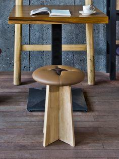 http://www.bozu.it/en/bottone #wood and #leather stool