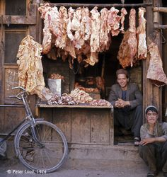 Photographs of Afghanistan by Peter Loud, Afghan Butcher& Shop, Herat Meat Shop, Butcher Shop, Shop Fronts, Central Asia, Afghanistan, Street Food, Beautiful Pictures, Photos, Photographs