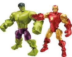 The HULK and IRON MAN figures from the MARVEL SUPER HERO MASHERS 2015  'Age of Ultron' product line. Images provided by Hasbro Inc.