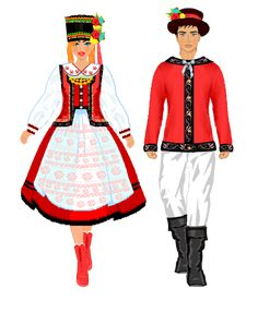 Strój kurpiowski. Plansze Folk Costume, Costumes, Polish Folk Art, Ethnic Outfits, Traditional Outfits, Paper Dolls, Poland, Comic Art, Female