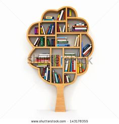 Tree of knowledge. Bookshelf on white background. 3d by Maxx-Studio, via Shutterstock