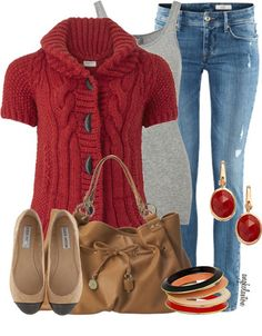 15 Casual Winter Fashion Trends & Looks 2013 For Girls & Women | Girlshue...this one would make more sense to have a long sleeve white crew-neck shirt under the sweater for Wisconsin weather
