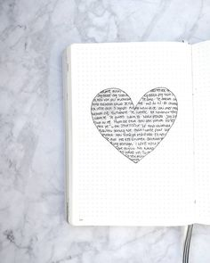 Bullet journal Valentine's Day drawing,  word heart, heart drawing. | @illustrated.journal
