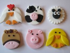 6 LARGE FONDANT 2D HANDMADE FARM ANIMALS ,CUPCAKE TOPPERS,PIG,COW,CHICKEN,SHEEP in Crafts, Cake Decorating | eBay