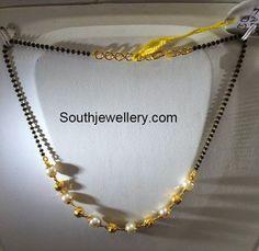 Simple Gold Mangalsutra Design 5 grams simple black beads mangalsutra - jewellery designs