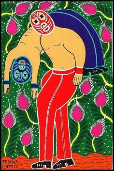 MEXICAN FOLK ART RETABLO WRESTLERS BY NICOLAS LORENZO
