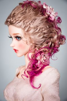 Gorgeous hairstyle of the lush curls and braiding with rhe color tips for your doll.  The wig has an elastic cap of white color with an elastic band, that you don't need a silicone cap.  ~ Our wigs are versatile, they are suitable for many dolls with a similar head size! ~
