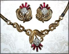 RARE Red THISTLE ~ Crown Trifari ~ Alfred Philippe ~ ca 1950 Necklace & Earrings #Trifari