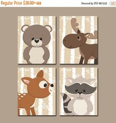 WOODLAND Nursery Wall Art Birch Wood Forest Animals von TRMdesign