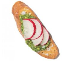 Pesto, Radish, and Sea Salt Crostini