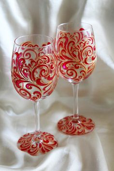 Flame Fire Wine Glasses Painted Wine Glasses Giltter Dipped Wine Glass Couples…