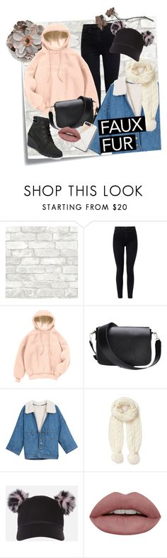 """faux fur winter fun"" by cloversmiles ❤ liked on Polyvore featuring Post-It, J Brand, Miss Selfridge, Charlotte Simone and Timberland"