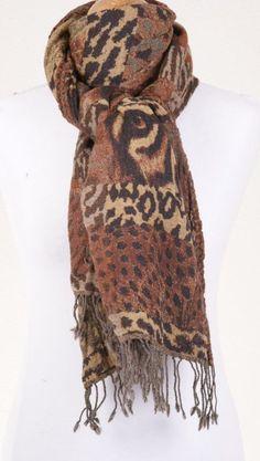 PAS201  - bruin/beige Pashmina sjaal met dierendessin